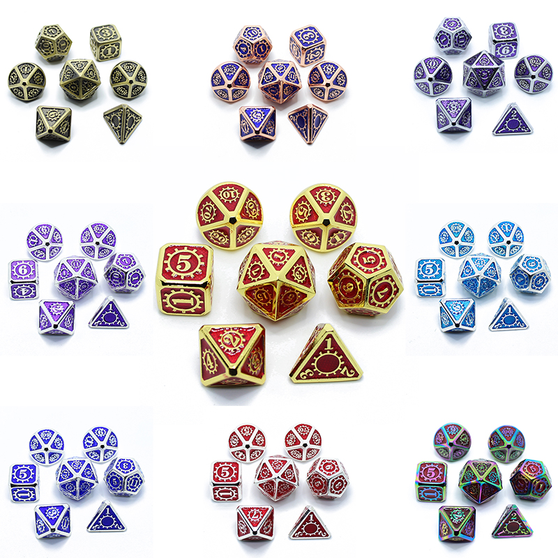 Metal Dice Dnd Set Rpg Polyhedral Solid Dungeons And Dragons Table Games Zinc Alloy Digital D&d Dice 7pcs Sets Dnd D&d Dices Box