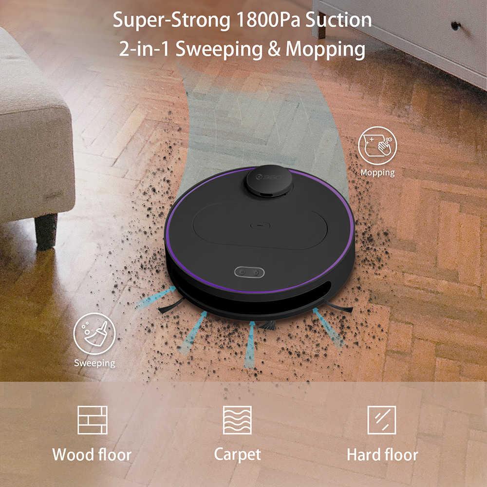 360 S6 جهاز آلي لتنظيف الأتربة APP التحكم عن بعد ذكي السيارات شحن منظفات 1800Pa كنس الغبار الشافطة للمنزل