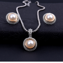Women blue crystal pearl earrings necklace set drop earrings round necklace jewelry chain wedding necklace set accessoire femme