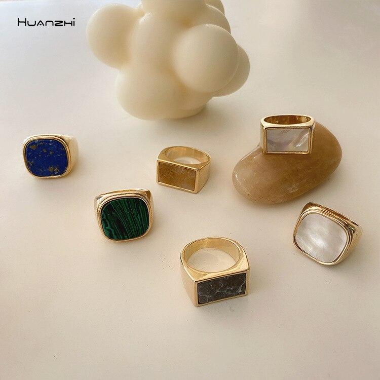 HUANZHI 2020 Новое индивидуальное винтажное модное Мраморное ракушечное простое геометрическое квадратное металлическое кольцо для женщин и де...