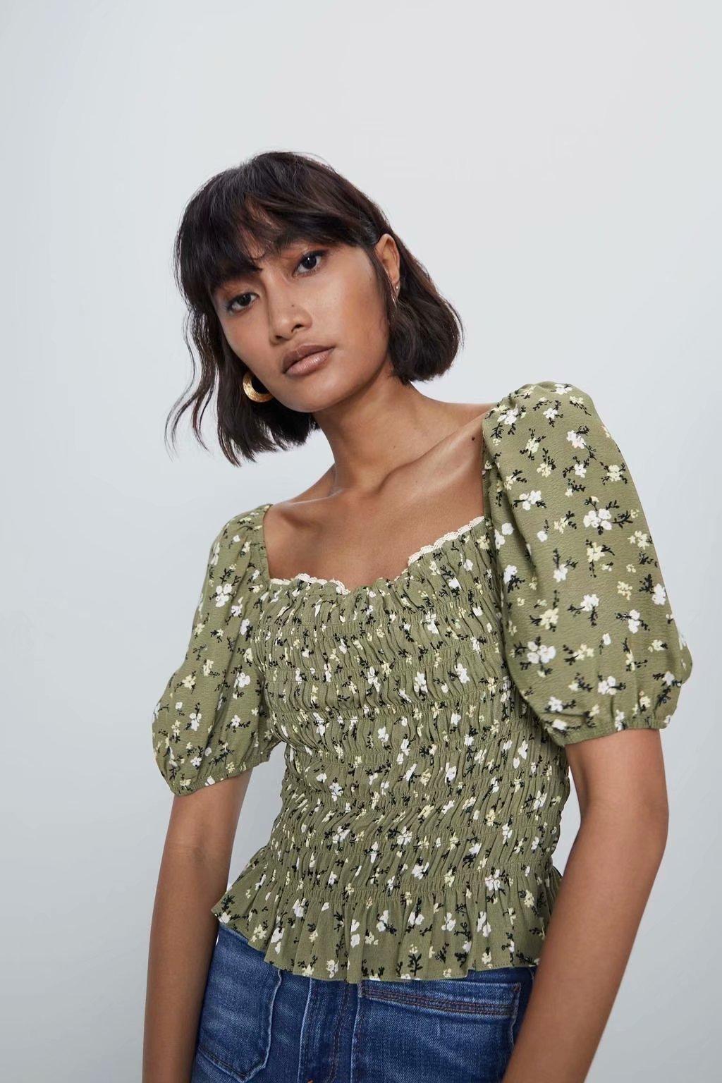 2020 New Spring Summer European Printed Short Slab Tops Zaraing Women Blouse Shrit Vadiming Sheining Female Shirt A9698