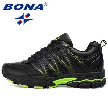 BONA 2019 New Designers Casual Shoes Men Style Cow Split Sneakers Male Lightweight Outdoor Fashion Footwear Man Trendy Comfy