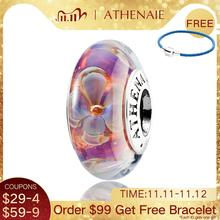 ATHENAIE حقيقية زجاج مورانو 925 الفضة الأساسية خمسة بيتاليد الزهور Charms الخرز صالح باندورا أساور و القلائد اللون الأرجواني