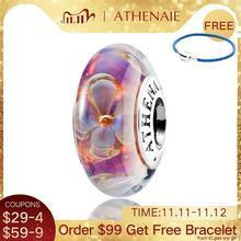 Athenaie genuíno vidro murano 925 núcleo de prata cinco petaled flores encantos contas caber pandora pulseiras e colares cor roxo