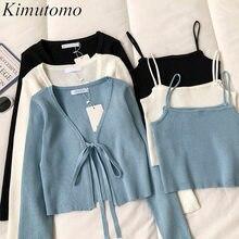 Kimutomo-Conjunto de 2 piezas de moda informal para mujer, cárdigan corto de punto con encaje de manga larga y cuello de pico liso, camisola de punto, punto elegante