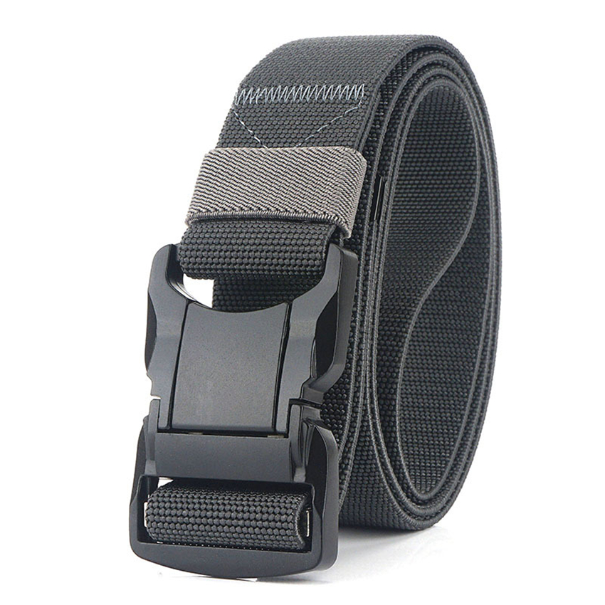 Elastic Belt Men Aluminum Alloy Black Pluggable Buckle Tactical Belts Breathable Comfortable Nylon Male Jeans Belt High Quality