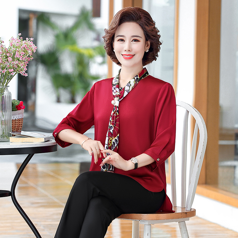 Western style small shirt 2021 new temperament bottoming shirt middle-aged and elderly women's spring and autumn clothes