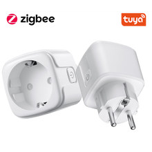 Tuya Zigbee Smart Plug 16A EU Outlet 3680W Power Meter Compatiable Works With Google Assistant and Tuya Zigbee Hub