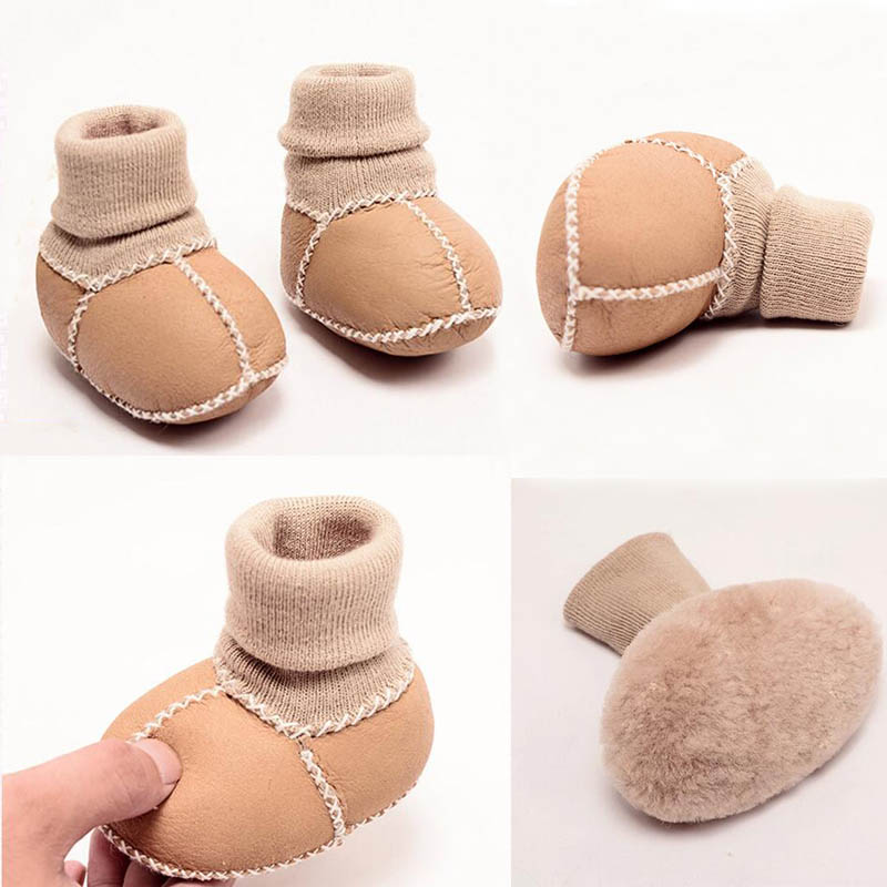 Sheepskin Fur Baby Boots Genuine Leather Winter Newborn Shoe Baby Boys Girls Snow Boots Infant Toddler Shoes Warm First Walkers