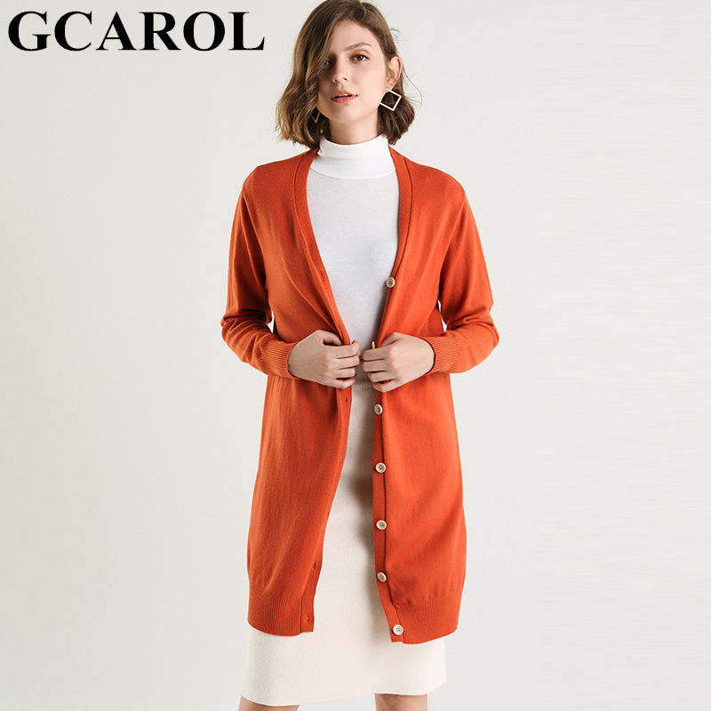 GCAROL New Women V Neck Cardigan 30% Wool Single Breasted Long Knitted Sweater Fall Winter OL Elegant Knitted Coat 3XL Size