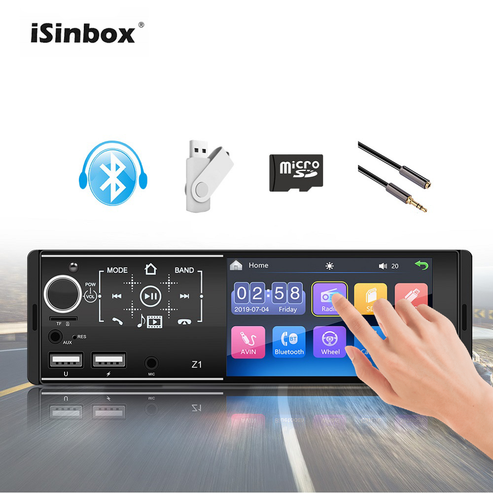 1 Din Radio Car Stereo Touch Screen Button 4.1 Multimedia Player Bluetooth FM USB AUX SD Card Reversing Camera Auto Radio 1din image