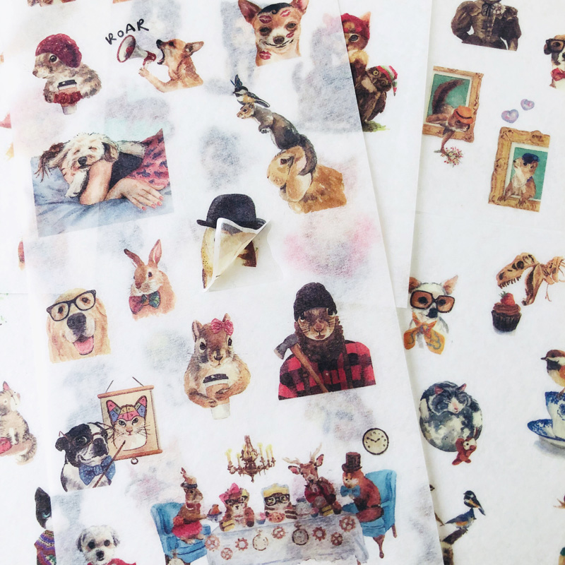 6 Sheets /Pack Cute Pet Cats & Dogs Washi Paper Adhesive Decorative Diary Hand Account Decor Station