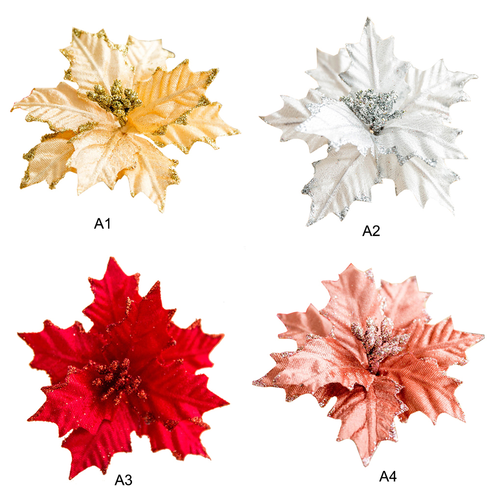 20cm Diy Christmas Artificial Flower Head Christmas Tree Ornaments Red Poinsettia Flower Wedding Decoration Artificial Dried Flowers Aliexpress