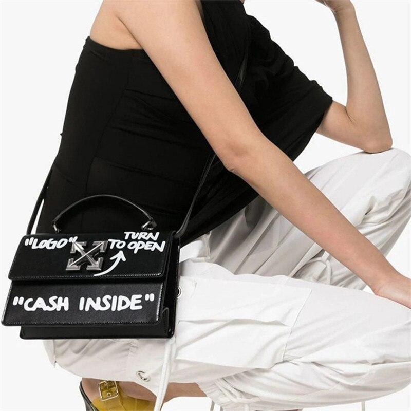 2020 New Arrow Box Bag Niche English Graffiti Cowhide Small Square Bag High Quality Genuine Leather Women Purse and Handbags