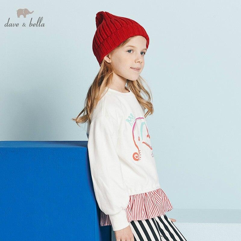 DBK10672 dave bella autumn 5Y-13Y kids clothes children sweet bow cartoon striped T-shirt girls high quality fashion tees