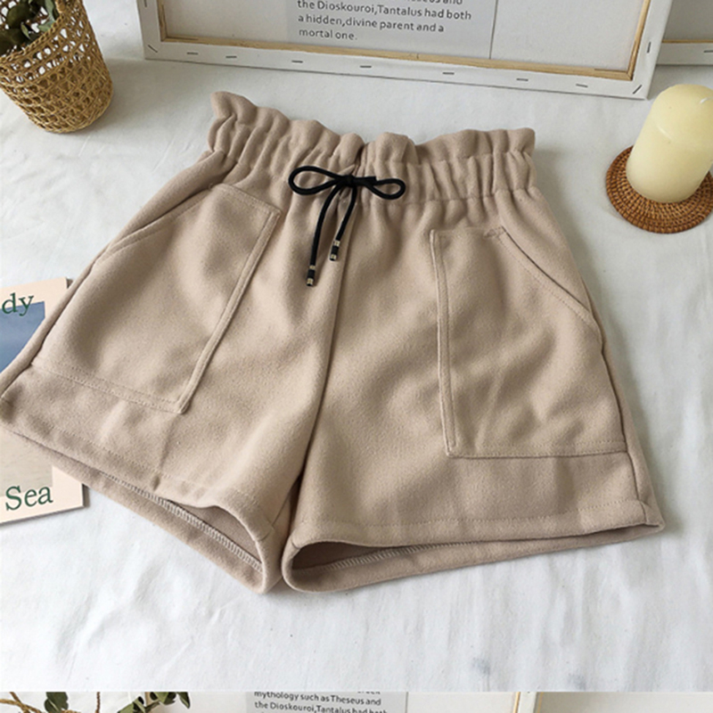 Women Shorts High Waist Shorts Solid Casual Loose Thick Warm Elastic Waist Straight  Autumn And Winter Shorts New Fashion 2020