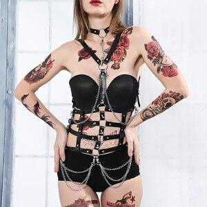 Image 4 - Fullyoung talia Pu skórzana uprząż Bondage pas Punk klatki piersiowej ciała szelki pasy kobiety Sexy ciała klatka pasy bielizna Harajuku