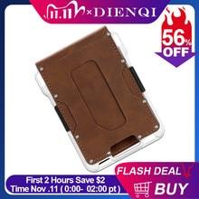 DIENQI Rfid Aluminium Metal Wallets Men Card Holder Small Short Magic Wallet Money Bag Vintage Male Trifold Leather Magic Wallet