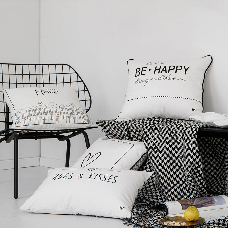 Black White  Cushion Cover 45x45cm/30x50cm Rectangle Pillow Cover Cotton Soft Heart Happy Home Letter Fringe For Home Decoration