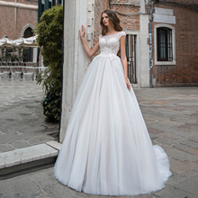 Simple White Ball Gown For Bride Formal Wedding Dresses Scoop Lace Floor Length Party Robes Mariee Button Back With Applique