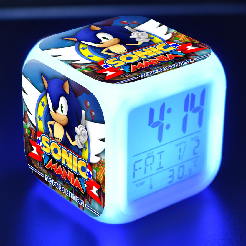 Sonic The Hedgehog Figure LED Clock Alarm Colorful Touch Light Desk Watch Sonic Figurine Toys For Children Christmas Gift