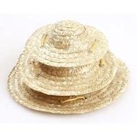 Sombrero tejido de paja para mascotas, sombrero tejido de paja para el sol para gatos y perros pequeños, medianos y grandes, accesorios de disfraz para fiesta en la playa