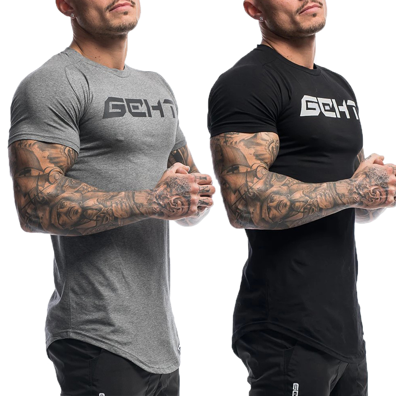 GEHT Brand New Mens Bodybuilding T-Shirt  Men Cotton Gyms T-shirt O-neck   Short Sleeve Tshirts Casual Slim Fit Top Tees