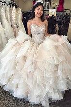 Deslumbrante champanhe quinceanera vestidos de baile elegante vestidos de baile com babados de cristal em camadas lxury vestido 15 anos doce 16