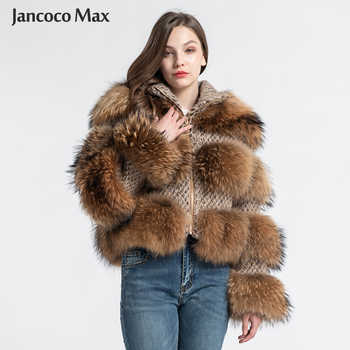 Jancoco Max Real Raccoon Fur Jackets Female Fashion Natural Fur Coats Long Sleeve Winter Women Overcoat S7458 - DISCOUNT ITEM  49% OFF All Category