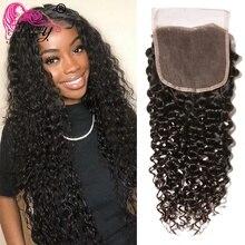 Schönheit Für Immer Malaysische Lockige Haar PU Silk Basis Verschluss 4*4 Freies/Mittleren Teil 100% Remy Menschliches Haar spitze Verschluss 10 20 inch