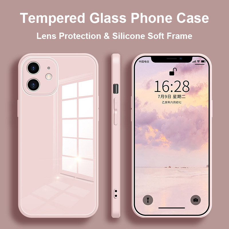 Gehard стеклянный чехол для телефона для Iphone 11 12 Pro Max Xr X Xs Max Se 2020 8 7 Plus, задняя крышка, мягкий чехол с рамкой