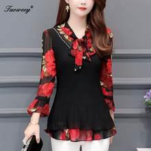 5XL de talla grande blusas de mujeres 2020 de moda Otoño arco collar 3/4 manga camisa FLORAL mujer Casual tops blusas femininas elegante