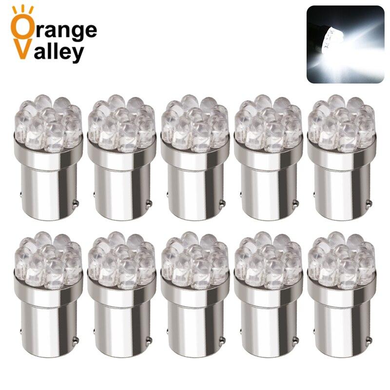 10 шт. оптовая продажа 1156 BA15S P21W S25 7506 R5W чистый белый 9 LED Автомобильный задний свет Поворотная сигнальная лампа Резервное освещение DC 12V