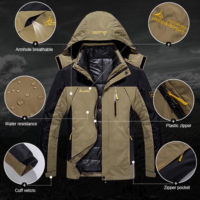 Hombre invierno impermeable peces Trekking senderismo campamento esquí subir cálido de talla grande 3 en 1 algodón al aire libre chaquetas Softshell pantalones traje - 4
