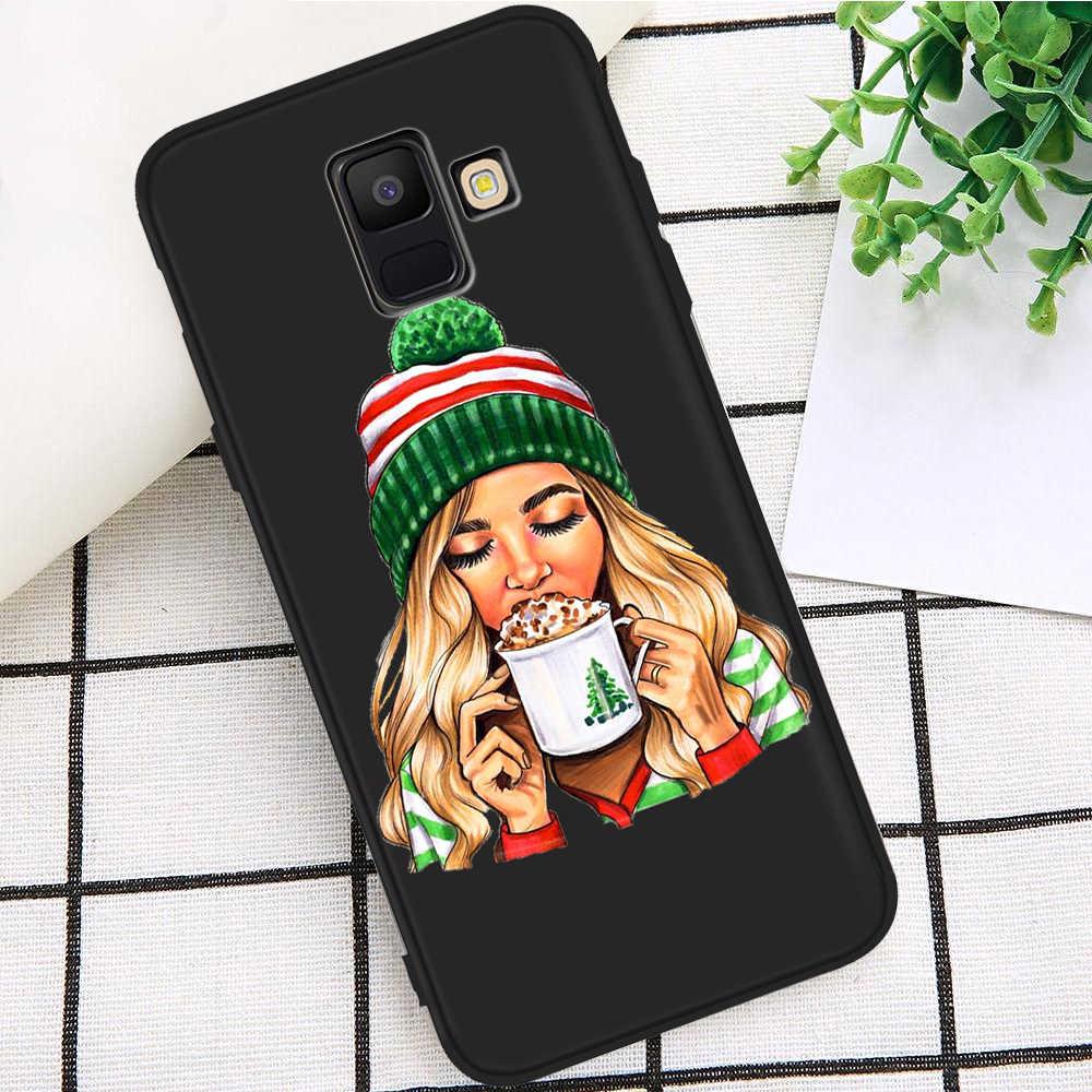 Kız kadın moda kahve lüks Samsung Galaxy A9 A8 A7 A6 A5 A3 J3 J4 J5 J6 J8 artı 2017 2018 M30 A40S A10 A20E kılıf kapak
