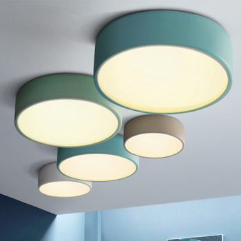 Modern minimalist Nordic led Chandeliers Lights creative dining room bedroom balcony LED Round Macaron color chandelier fixtures