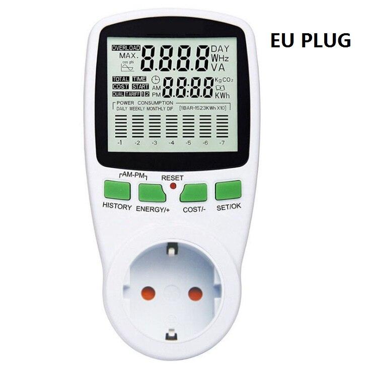 Compteur de courant alternatif intelligent wattmètre prise de facturation compteur dénergie KWh tension fréquence de courant moniteur délectricité prise ue/usa/royaume-uni/AU/FR