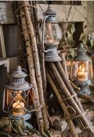Vintage Wrought Iron Kerosene Candles Holder Retro Glass Candlestick For Home Decor Wedding Christmas Desktop Hanging Lantern