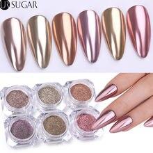 Poudre à paillettes pour ongles en or Rose, effet métallique, Pigment chromé métallique, poussière pour décoration des ongles, Gel UV