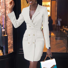 Sexy White Black Turn-down Collar Blazer Dress Women Party Long Sleeve Bodycon Dress Fashion Elegant Club Female Short Dress#G7(China)