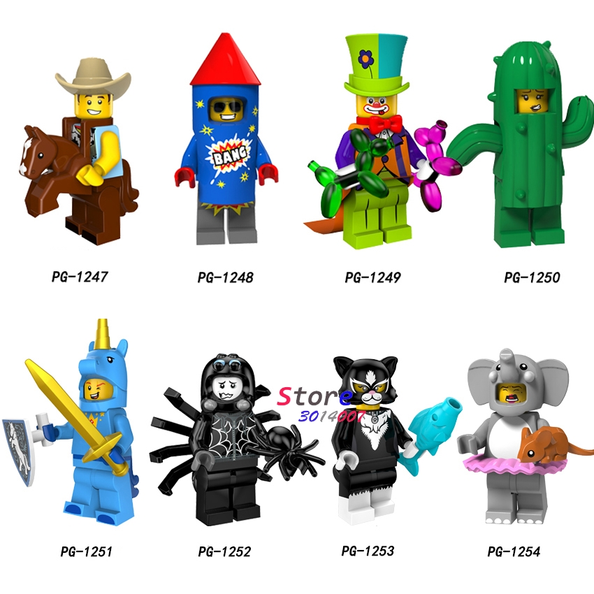 Single Series Costume Cowboy Fireworks Boy Circus Clown Cactus Girl Unicorn Boy Building Blocks Models Bricks Toys For Children