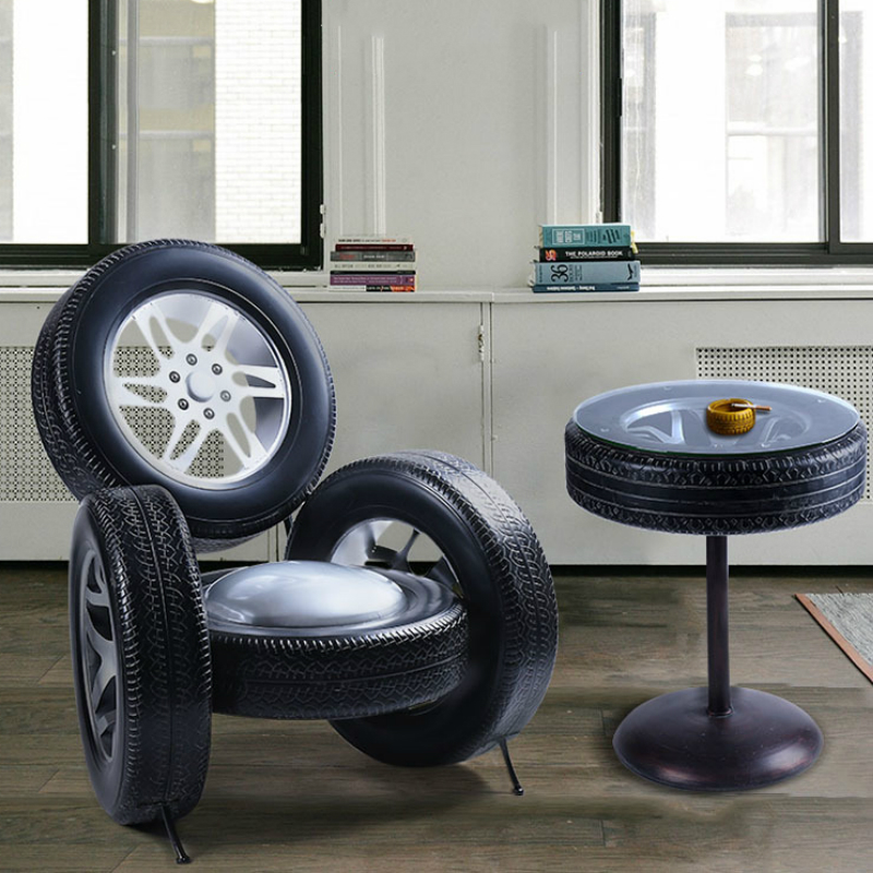 Retro Iron Tires Dining Table Set Round Kitchen Table Chair Cafe Restaurant Bar Metal Stool Vintage Furniture Luxury Home Decor