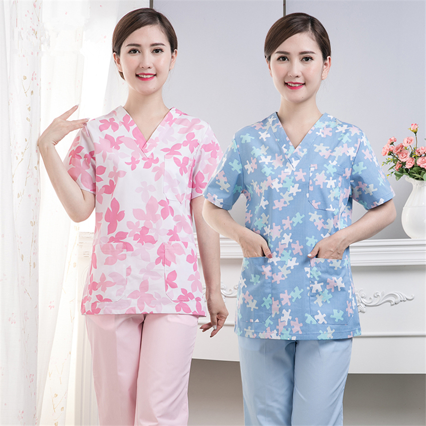 New Surgery Medical Uniform Nurse Top Print Summer Short Sleeve Hospital Work Wear Surgical Scrub Clothing For Women