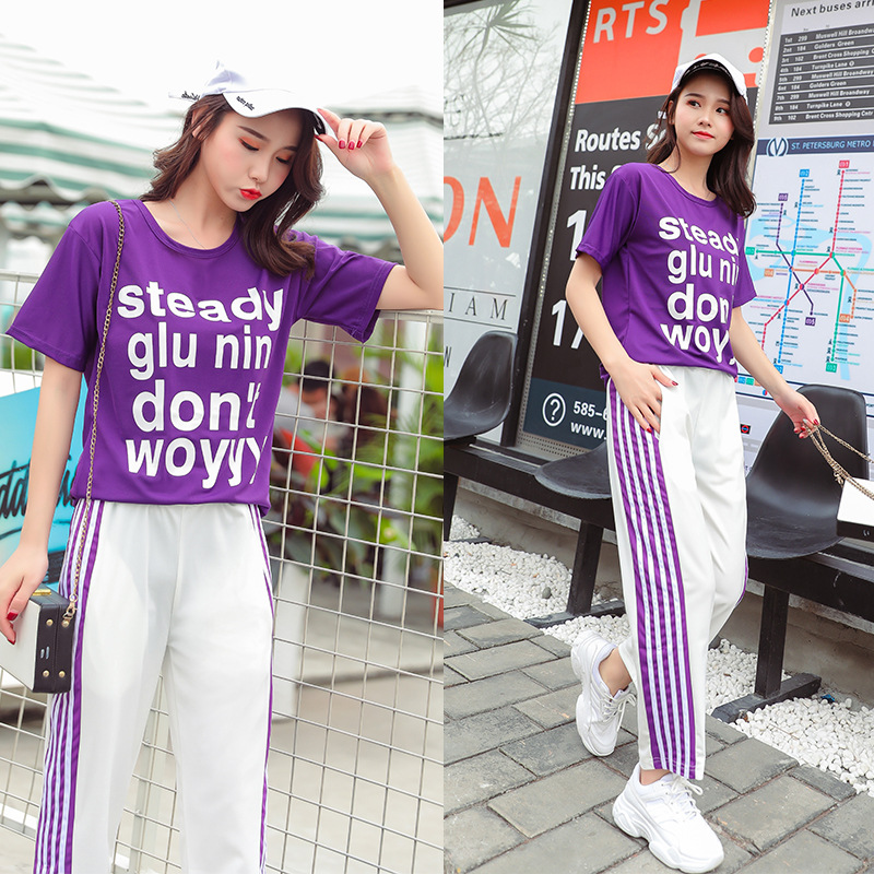 Casual Sports WOMEN'S Suit 2019 Spring And Summer New Style Students Fashion Korean-style Short Sleeve Loose-Fit Jogging Suits T