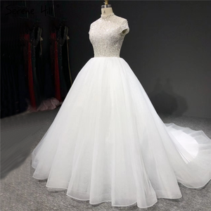 Image 2 - Branco brilho manga curta tule vestidos de casamento 2020 alta pescoço lantejoulas miçangas vestidos de noiva ha2280 feito sob encomenda