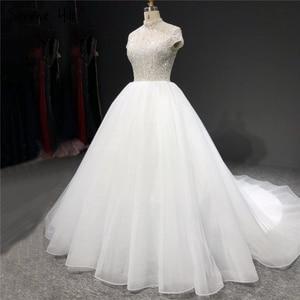 Image 2 - สีขาว Sparkle แขนสั้น Tulle ชุดแต่งงาน 2020 คอเลื่อมประดับด้วยลูกปัดชุดเจ้าสาว HA2280 CUSTOM Made