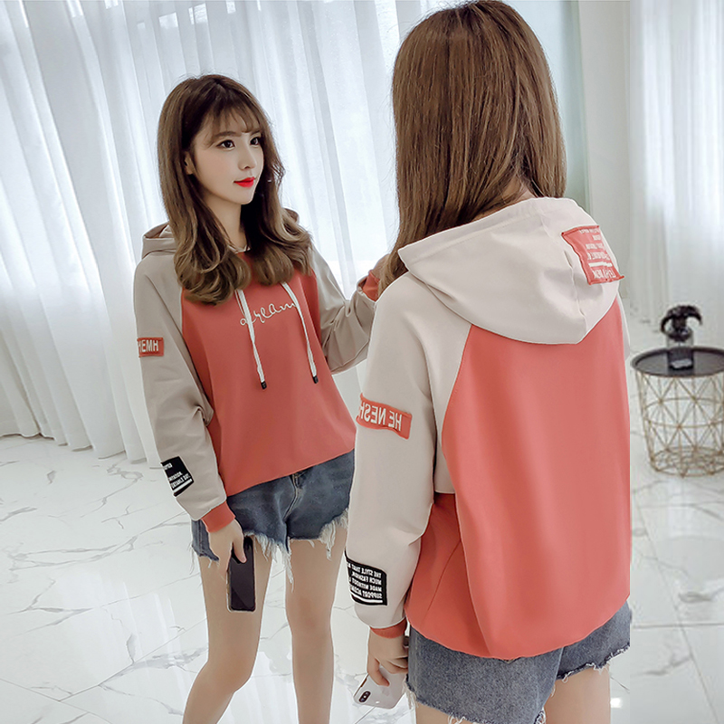 Hooded pullover girls autumn clothes Korean version of loose casual 2019 new student letter print women's sweatshirt 35