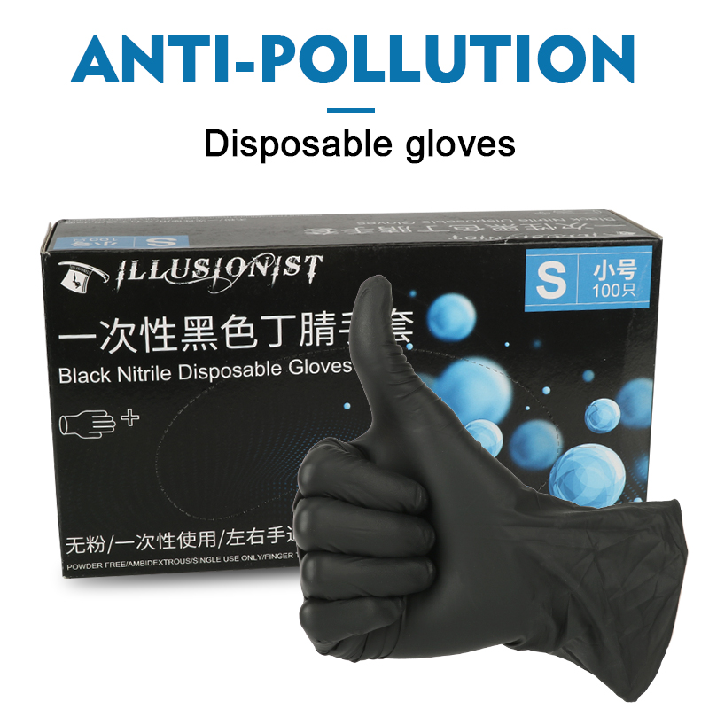 100Pcs Black Disposable Nitrile Latex Universal Gloves Powder Free Ambidextrous Finger Textures Anti-Pollution For Clean
