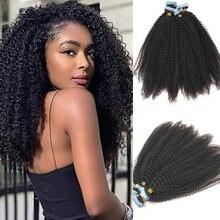4B 4C афро кудрявый лента для вьющихся волос для наращивания, для выведения токсинов, 40 шт/100g монгольские вьющиеся Remy пряди человеческих волос...