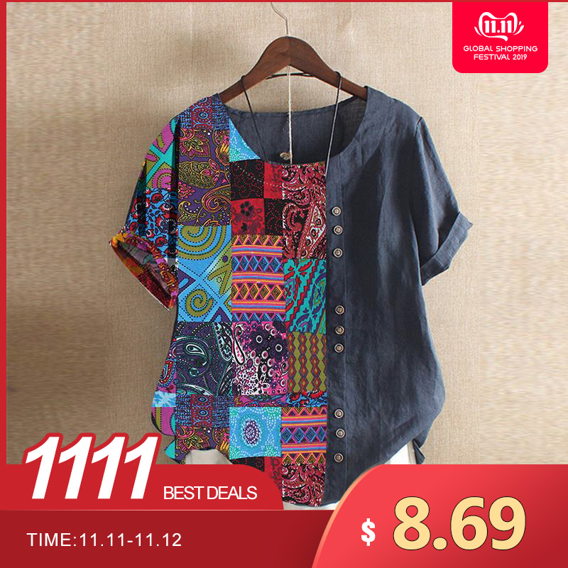 Women's Patchwork Blouse Casual Printed Tops 2019 Vintage Summer Short Sleeve Tee Shirts Female O Neck Blusas Oversized Tunic